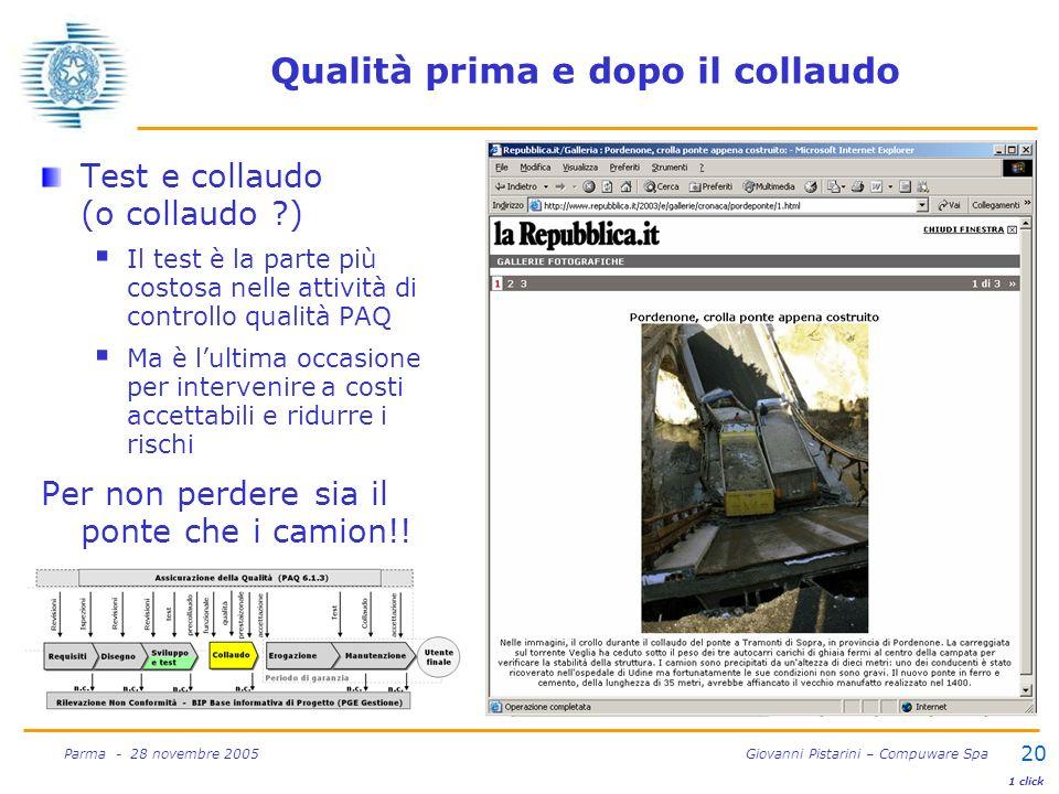 20 Parma - 28 novembre 2005 Giovanni Pistarini – Compuware Spa Qualità prima e dopo il collaudo Test e collaudo (o collaudo ?) Il test è la parte più