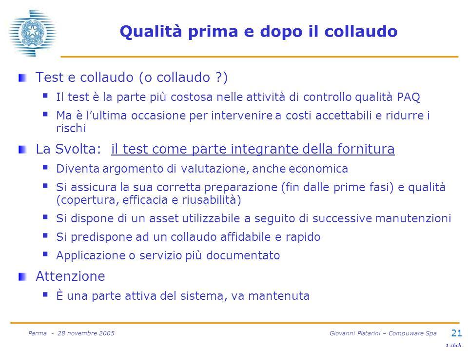 21 Parma - 28 novembre 2005 Giovanni Pistarini – Compuware Spa Qualità prima e dopo il collaudo Test e collaudo (o collaudo ?) Il test è la parte più