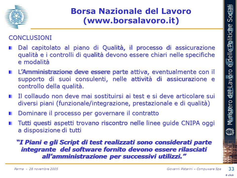 33 Parma - 28 novembre 2005 Giovanni Pistarini – Compuware Spa CONCLUSIONI Dal capitolato al piano di Qualità, il processo di assicurazione qualità e