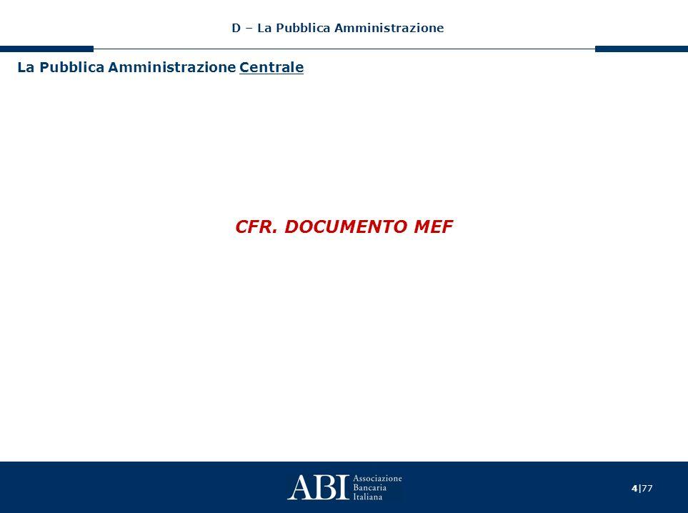 4|77 La Pubblica Amministrazione Centrale CFR. DOCUMENTO MEF D – La Pubblica Amministrazione