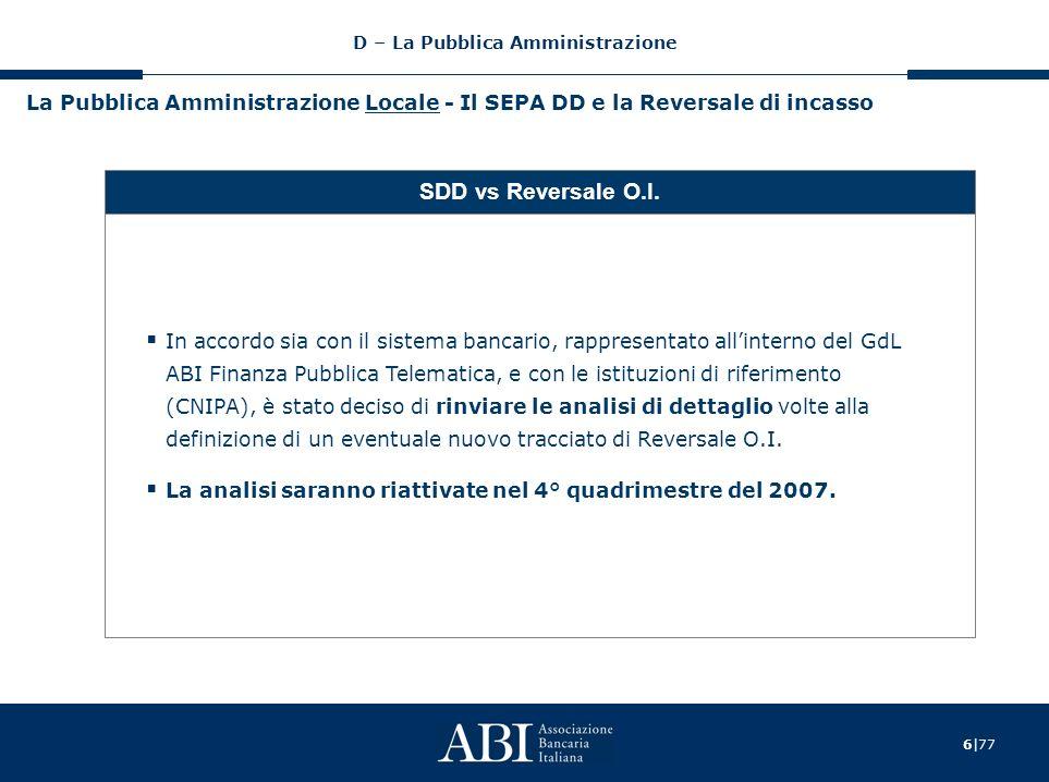 6|77 La Pubblica Amministrazione Locale - Il SEPA DD e la Reversale di incasso SDD vs Reversale O.I.