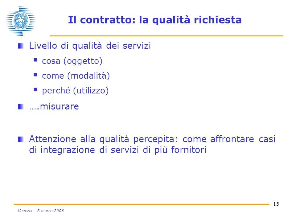 15 Venezia – 8 marzo 2006 Il contratto: la qualità richiesta Livello di qualità dei servizi cosa (oggetto) come (modalità) perché (utilizzo) ….misurar
