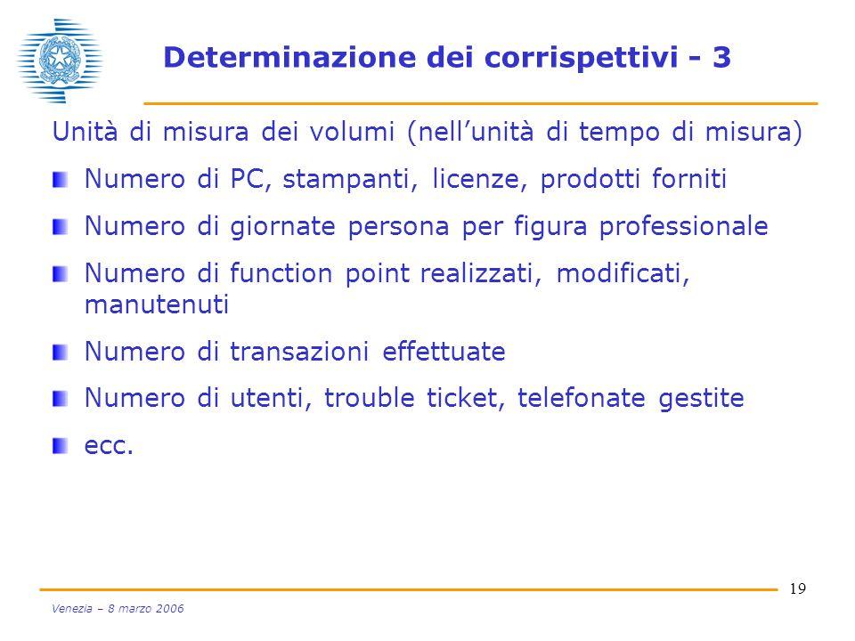 19 Venezia – 8 marzo 2006 Determinazione dei corrispettivi - 3 Unità di misura dei volumi (nellunità di tempo di misura) Numero di PC, stampanti, lice