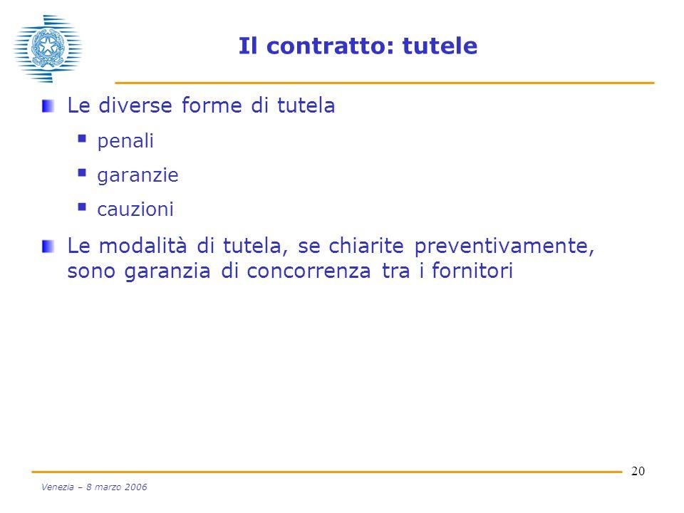 20 Venezia – 8 marzo 2006 Il contratto: tutele Le diverse forme di tutela penali garanzie cauzioni Le modalità di tutela, se chiarite preventivamente,
