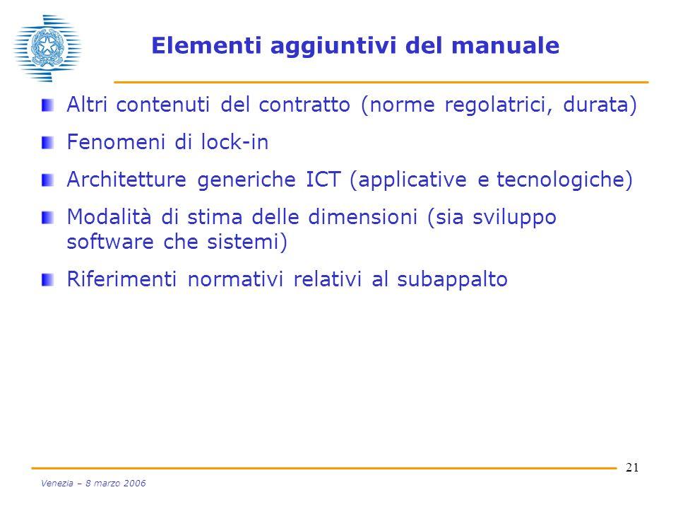 21 Venezia – 8 marzo 2006 Elementi aggiuntivi del manuale Altri contenuti del contratto (norme regolatrici, durata) Fenomeni di lock-in Architetture g