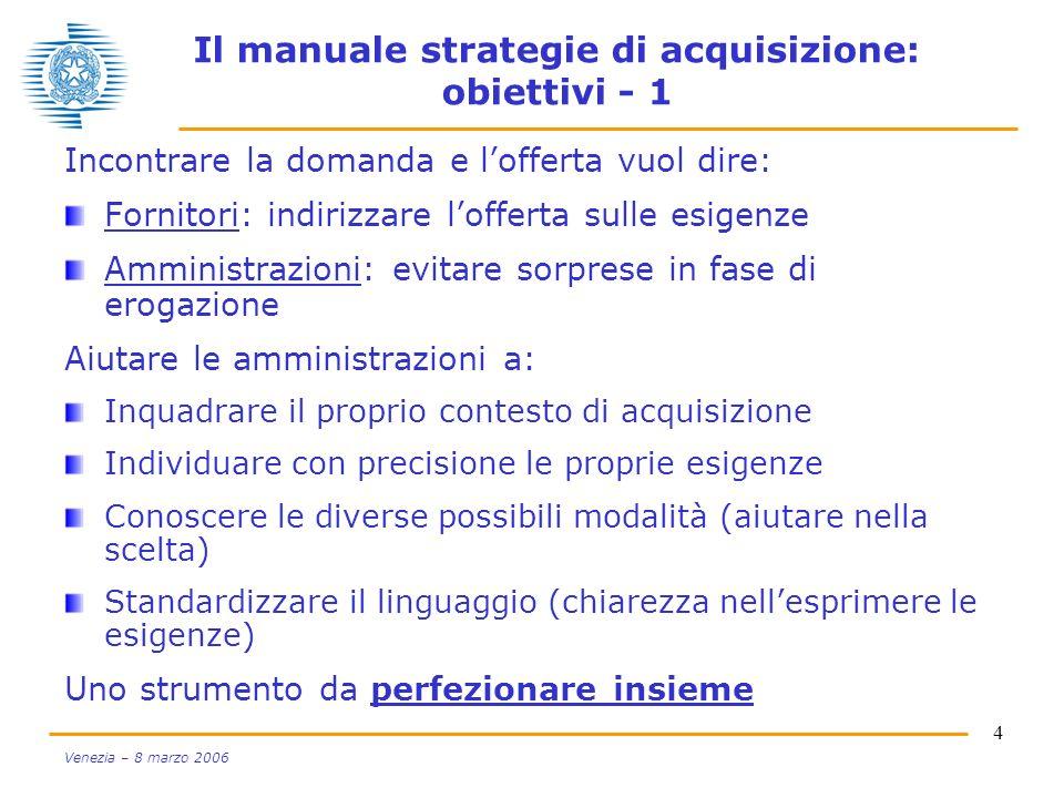 4 Venezia – 8 marzo 2006 Il manuale strategie di acquisizione: obiettivi - 1 Incontrare la domanda e lofferta vuol dire: Fornitori: indirizzare loffer