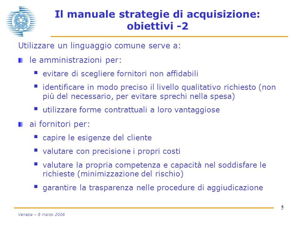 5 Venezia – 8 marzo 2006 Il manuale strategie di acquisizione: obiettivi -2 Utilizzare un linguaggio comune serve a: le amministrazioni per: evitare d