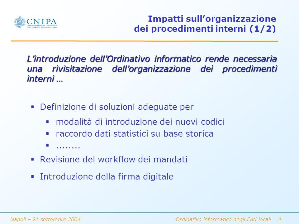 Napoli – 21 settembre 2004 Ordinativo informatico negli Enti locali 5 Impatti sullorganizzazione dei procedimenti interni (2/2) Organizzazione dei processi di conservazione dei mandati Formazione ed addestramento degli addetti...