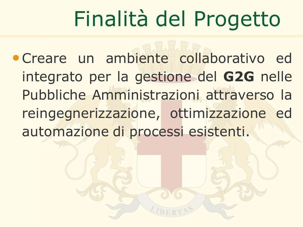 Finalità del Progetto Creare un ambiente collaborativo ed integrato per la gestione del G2G nelle Pubbliche Amministrazioni attraverso la reingegnerizzazione, ottimizzazione ed automazione di processi esistenti.