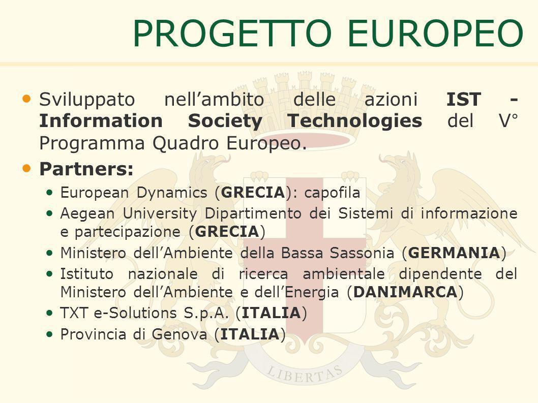 PROGETTO EUROPEO Sviluppato nellambito delle azioni IST - Information Society Technologies del V° Programma Quadro Europeo.