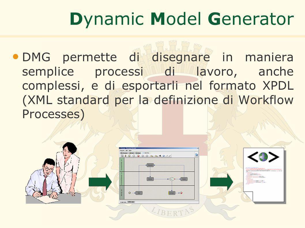 Dynamic Model Generator DMG permette di disegnare in maniera semplice processi di lavoro, anche complessi, e di esportarli nel formato XPDL (XML standard per la definizione di Workflow Processes)