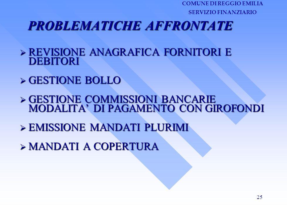 COMUNE DI REGGIO EMILIA SERVIZIO FINANZIARIO 25 PROBLEMATICHE AFFRONTATE REVISIONE ANAGRAFICA FORNITORI E DEBITORI GESTIONE BOLLO GESTIONE COMMISSIONI BANCARIE MODALITA DI PAGAMENTO CON GIROFONDI EMISSIONE MANDATI PLURIMI MANDATI A COPERTURA