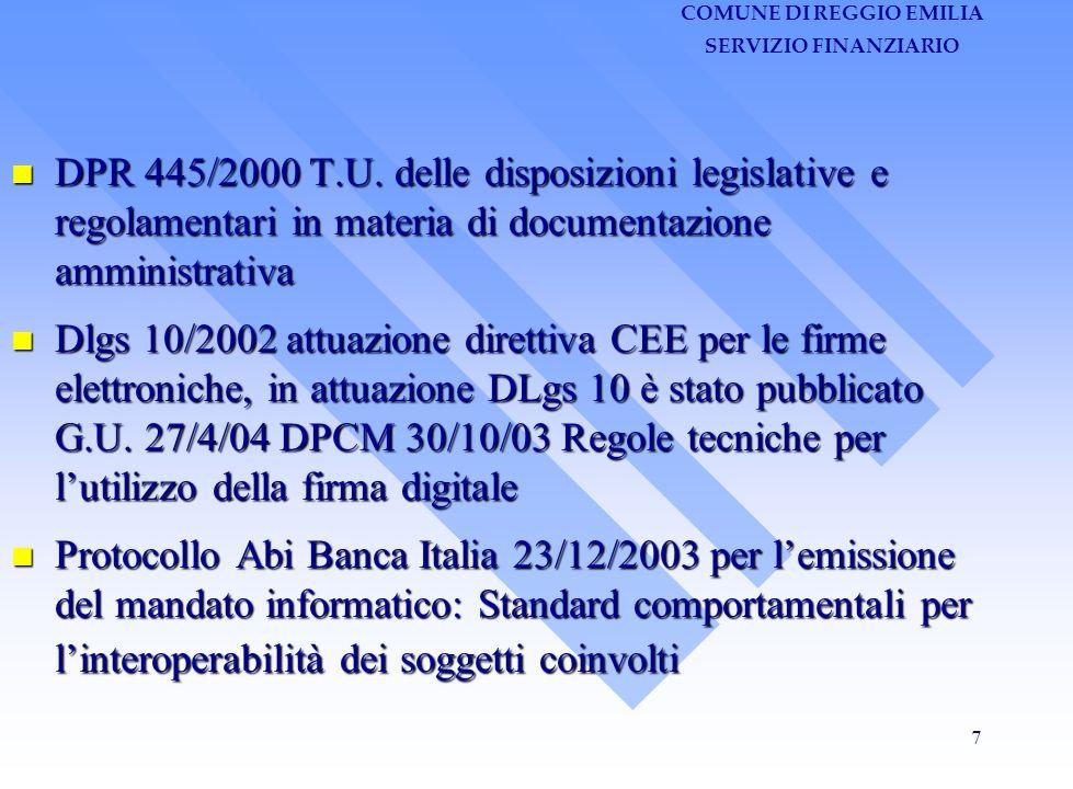 COMUNE DI REGGIO EMILIA SERVIZIO FINANZIARIO 18