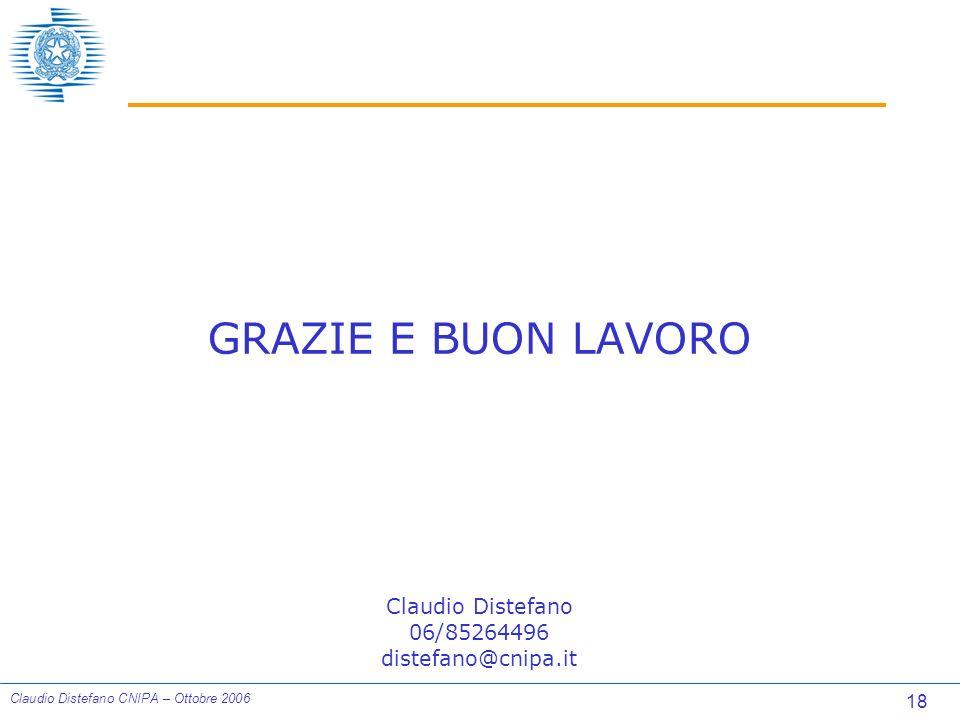 18 Claudio Distefano CNIPA – Ottobre 2006 GRAZIE E BUON LAVORO Claudio Distefano 06/85264496 distefano@cnipa.it