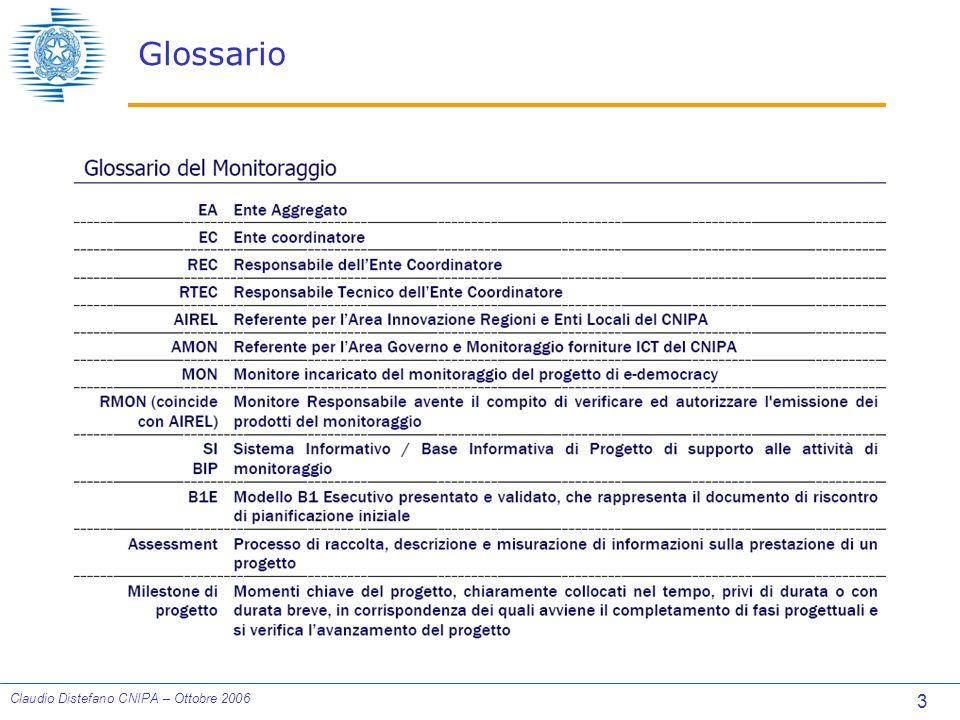 14 Claudio Distefano CNIPA – Ottobre 2006 INDICATORI: Conduzione del Progetto Avanzamento del progetto attività completate(%) (AV1): Valutazione dellavanzamento del progetto calcolato prendendo in considerazione i costi delle sole attività completate.