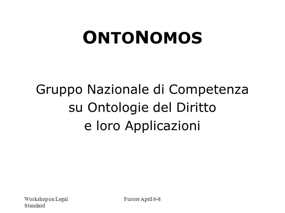Workshop on Legal Standard Furore April 6-8 O NTO N OMOS Gruppo Nazionale di Competenza su Ontologie del Diritto e loro Applicazioni