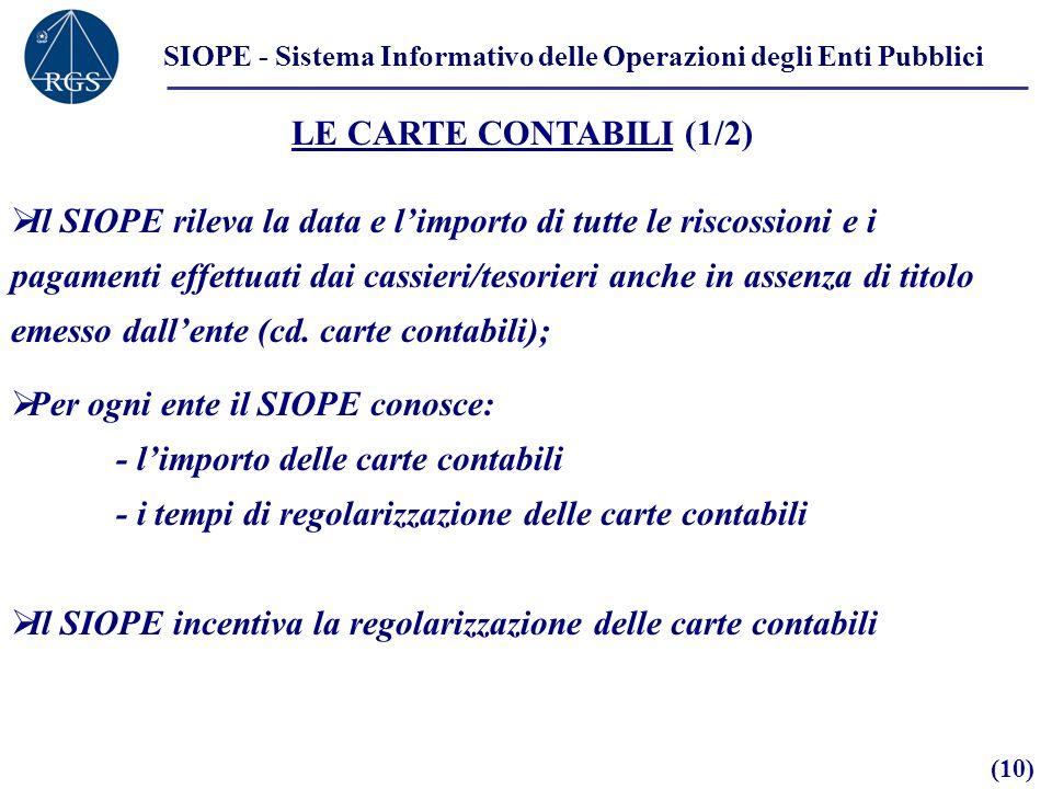 SIOPE - Sistema Informativo delle Operazioni degli Enti Pubblici LE CARTE CONTABILI (1/2) Il SIOPE rileva la data e limporto di tutte le riscossioni e