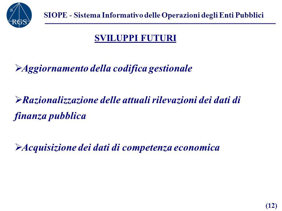 SIOPE - Sistema Informativo delle Operazioni degli Enti Pubblici SVILUPPI FUTURI Aggiornamento della codifica gestionale Razionalizzazione delle attuali rilevazioni dei dati di finanza pubblica Acquisizione dei dati di competenza economica (12)