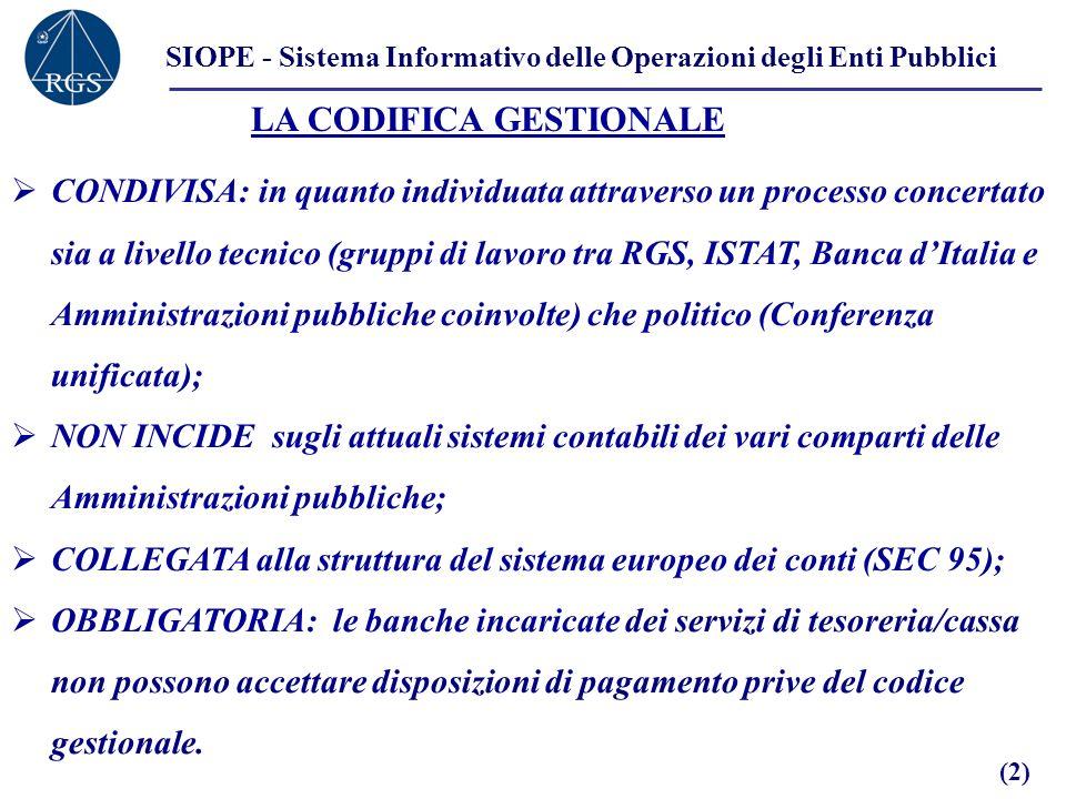 SIOPE - Sistema Informativo delle Operazioni degli Enti Pubblici LA CODIFICA GESTIONALE CONDIVISA: in quanto individuata attraverso un processo concer