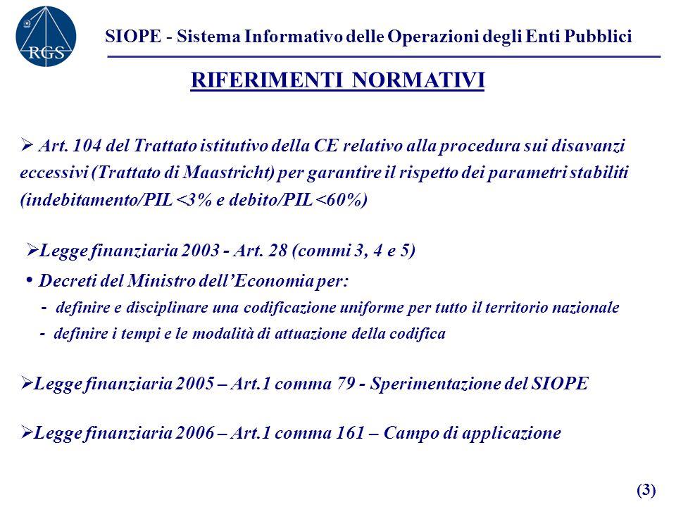 SIOPE - Sistema Informativo delle Operazioni degli Enti Pubblici RIFERIMENTI NORMATIVI Art. 104 del Trattato istitutivo della CE relativo alla procedu