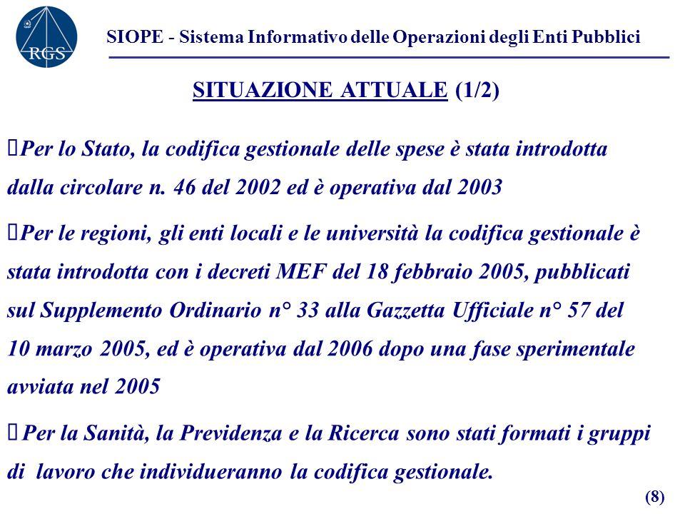 SIOPE - Sistema Informativo delle Operazioni degli Enti Pubblici SITUAZIONE ATTUALE (1/2) Per lo Stato, la codifica gestionale delle spese è stata introdotta dalla circolare n.