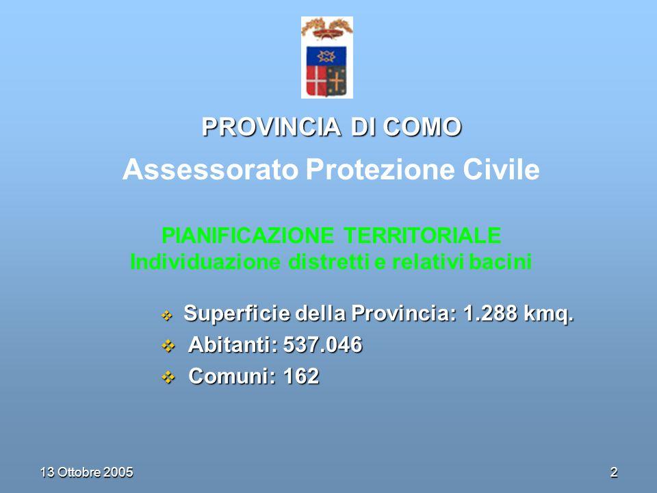 2 13 Ottobre 2005 PROVINCIA DI COMO Superficie della Provincia: 1.288 kmq.