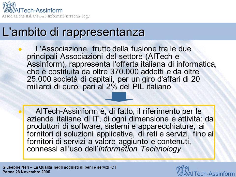 Milano, 28 marzo 2001 Giuseppe Neri – La Qualità negli acquisti di beni e servizi ICT Parma 28 Novembre 2005 L ambito di rappresentanza L Associazione, frutto della fusione tra le due principali Associazioni del settore (AITech e Assinform), rappresenta l offerta italiana di informatica, che è costituita da oltre 370.000 addetti e da oltre 25.000 società di capitali, per un giro d affari di 20 miliardi di euro, pari al 2% del PIL italiano AITech-Assinform è, di fatto, il riferimento per le aziende italiane di IT, di ogni dimensione e attività: dai produttori di software, sistemi e apparecchiature, ai fornitori di soluzioni applicative, di reti e servizi, fino ai fornitori di servizi a valore aggiunto e contenuti, connessi alluso dellInformation Technology.
