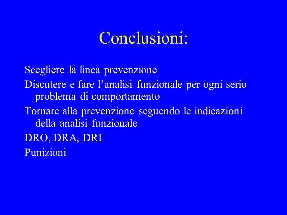Conclusioni: Scegliere la linea prevenzione Discutere e fare lanalisi funzionale per ogni serio problema di comportamento Tornare alla prevenzione seg