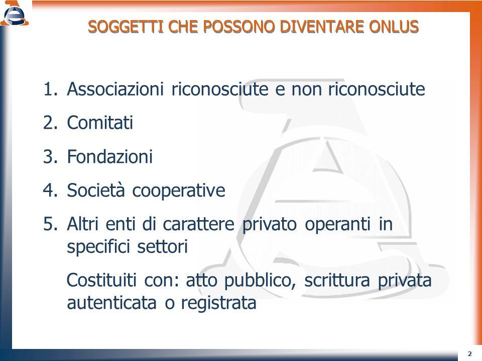 3 SONO ESCLUSI DAL REGIME FISCALE DELLE ONLUS: 1.Enti pubblici 2.Società commerciali diverse dalle cooperative 3.Enti conferenti di cui alla L.