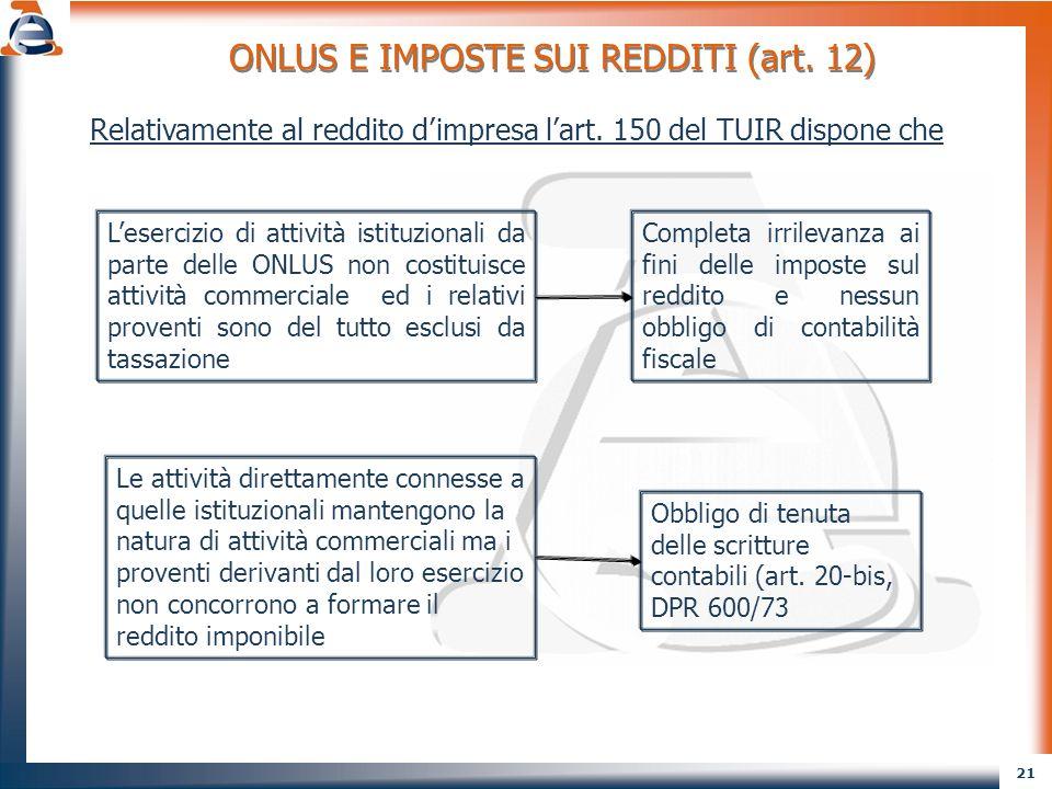 22 ESCLUSIONE DA TASSAZIONE DI PROVENTI IN FORZA DELLA DISCIPLINA GENERALE SUGLI ENC Ex art.