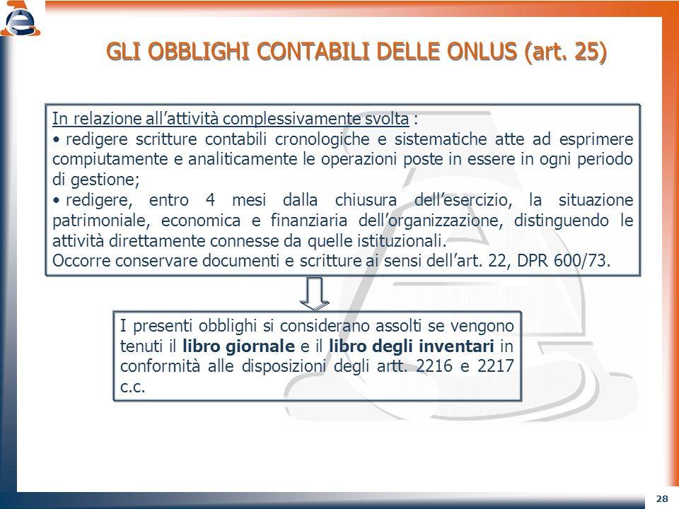 29 GLI OBBLIGHI CONTABILI DELLE ONLUS (art.