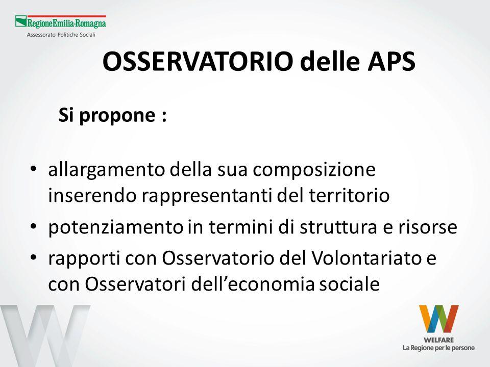 OSSERVATORIO delle APS allargamento della sua composizione inserendo rappresentanti del territorio potenziamento in termini di struttura e risorse rap