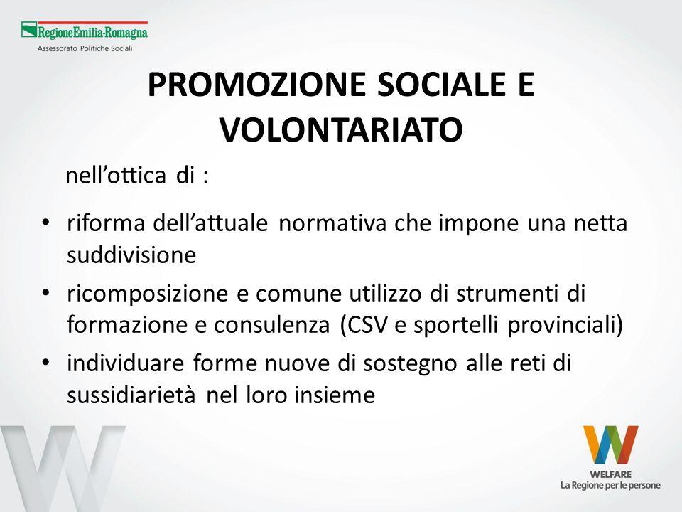 PROMOZIONE SOCIALE E VOLONTARIATO riforma dellattuale normativa che impone una netta suddivisione ricomposizione e comune utilizzo di strumenti di for