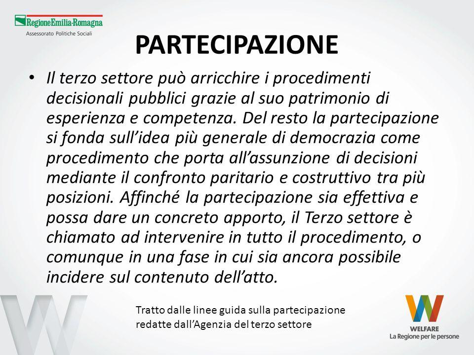 PARTECIPAZIONE Il terzo settore può arricchire i procedimenti decisionali pubblici grazie al suo patrimonio di esperienza e competenza. Del resto la p