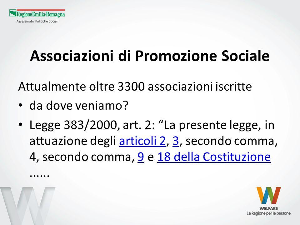 Associazioni di Promozione Sociale Attualmente oltre 3300 associazioni iscritte da dove veniamo? Legge 383/2000, art. 2: La presente legge, in attuazi