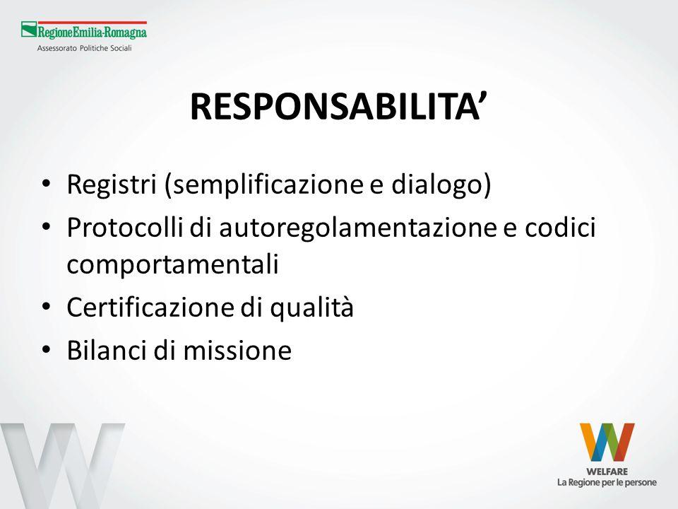 RESPONSABILITA Registri (semplificazione e dialogo) Protocolli di autoregolamentazione e codici comportamentali Certificazione di qualità Bilanci di m