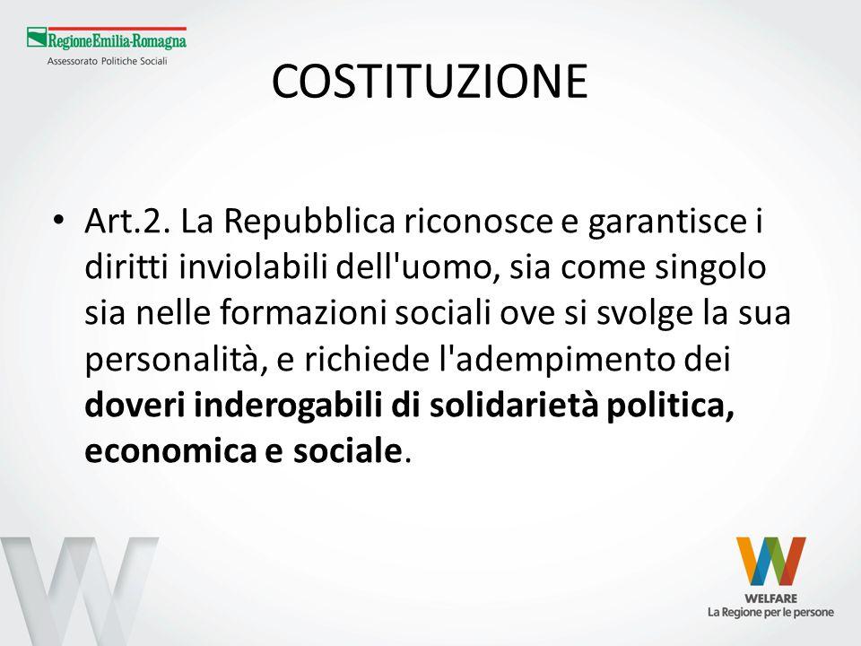 COSTITUZIONE Art.2. La Repubblica riconosce e garantisce i diritti inviolabili dell'uomo, sia come singolo sia nelle formazioni sociali ove si svolge