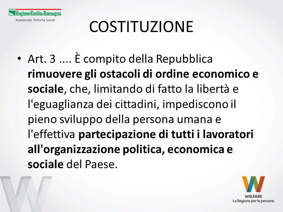 COSTITUZIONE Art. 3.... È compito della Repubblica rimuovere gli ostacoli di ordine economico e sociale, che, limitando di fatto la libertà e l'eguagl