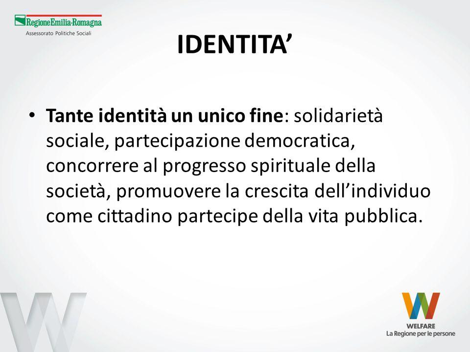 IDENTITA Tante identità un unico fine: solidarietà sociale, partecipazione democratica, concorrere al progresso spirituale della società, promuovere l