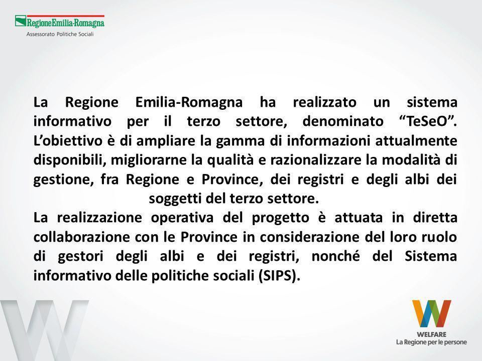 La Regione Emilia-Romagna ha realizzato un sistema informativo per il terzo settore, denominato TeSeO. Lobiettivo è di ampliare la gamma di informazio