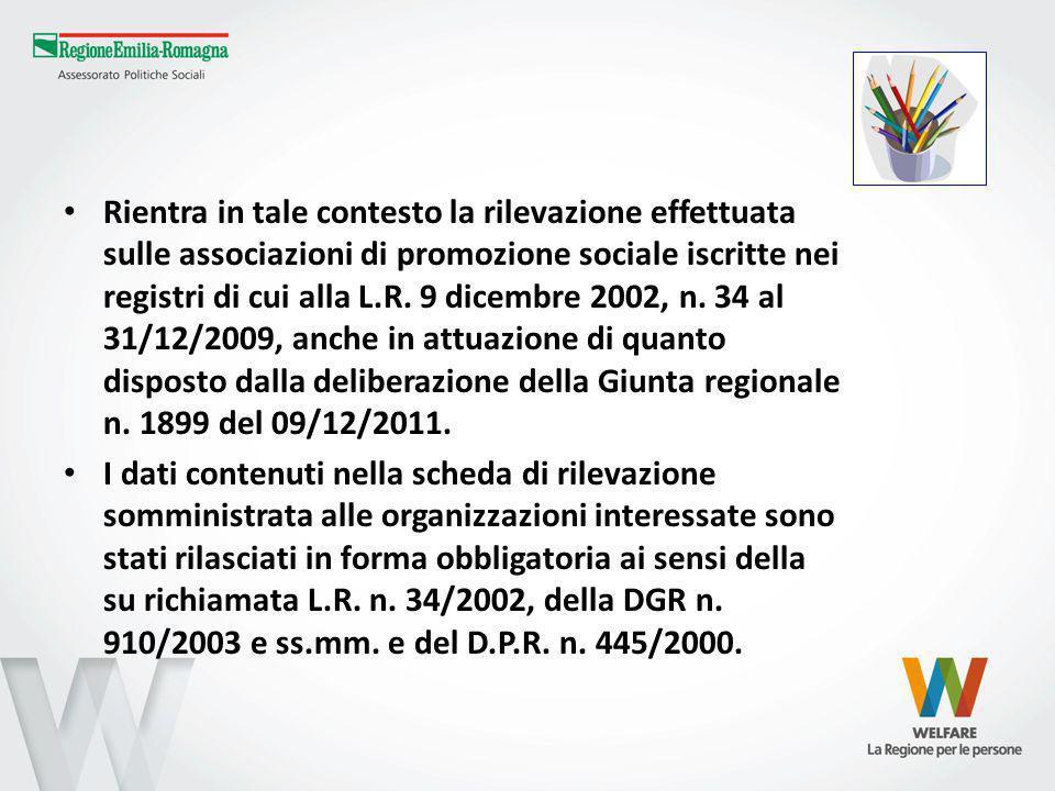 Rientra in tale contesto la rilevazione effettuata sulle associazioni di promozione sociale iscritte nei registri di cui alla L.R. 9 dicembre 2002, n.