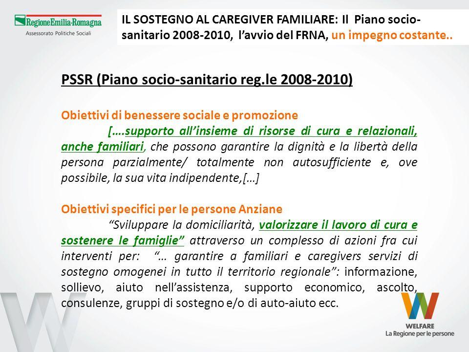 PSSR (Piano socio-sanitario reg.le 2008-2010) Obiettivi di benessere sociale e promozione [….supporto allinsieme di risorse di cura e relazionali, anc