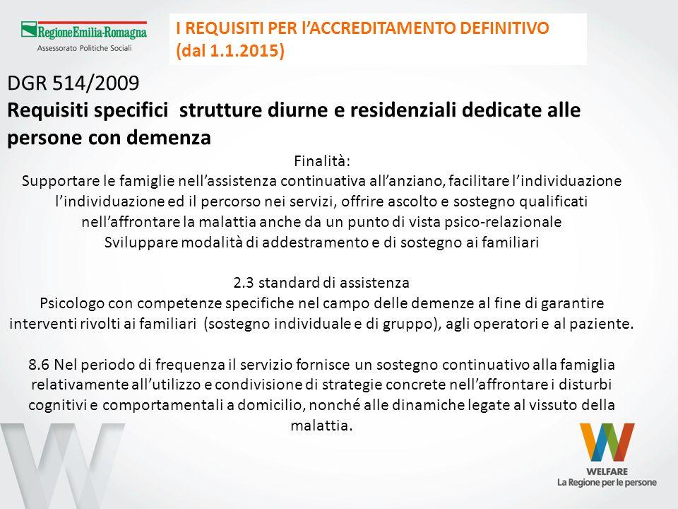 DGR 514/2009 Requisiti specifici strutture diurne e residenziali dedicate alle persone con demenza Finalità: Supportare le famiglie nellassistenza con