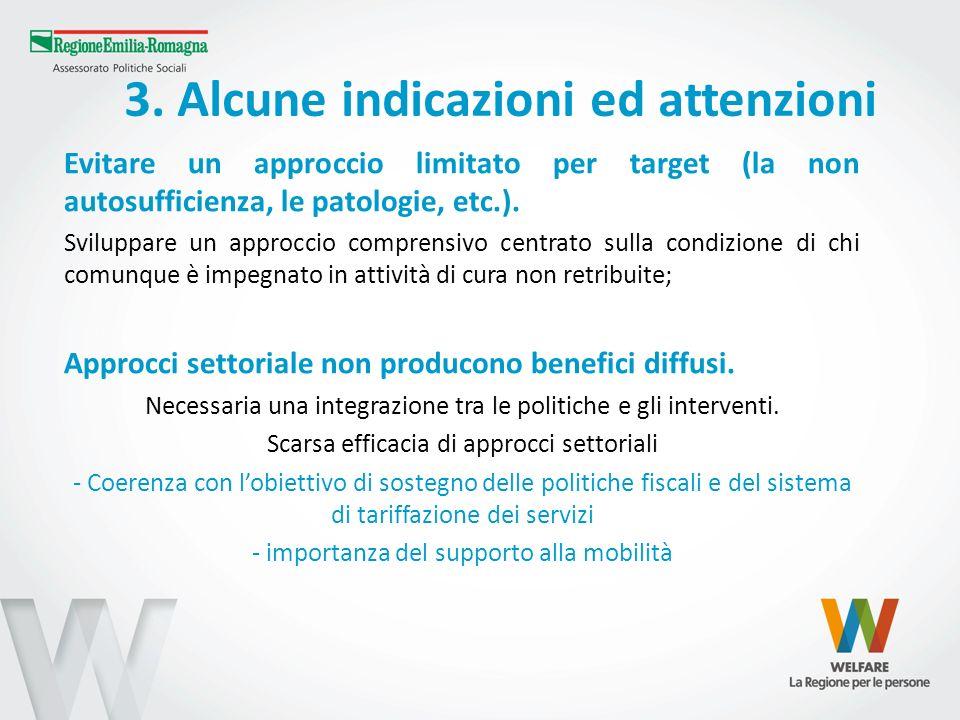 3. Alcune indicazioni ed attenzioni Evitare un approccio limitato per target (la non autosufficienza, le patologie, etc.). Sviluppare un approccio com