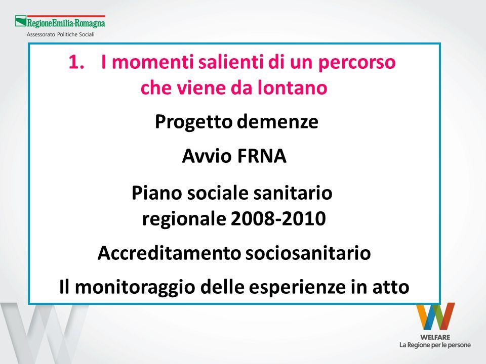 1. I momenti salienti di un percorso che viene da lontano Progetto demenze Avvio FRNA Piano sociale sanitario regionale 2008-2010 Accreditamento socio