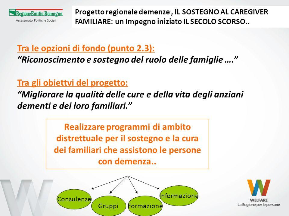 Tra le opzioni di fondo (punto 2.3): Riconoscimento e sostegno del ruolo delle famiglie …. Tra gli obiettvi del progetto: Migliorare la qualità delle
