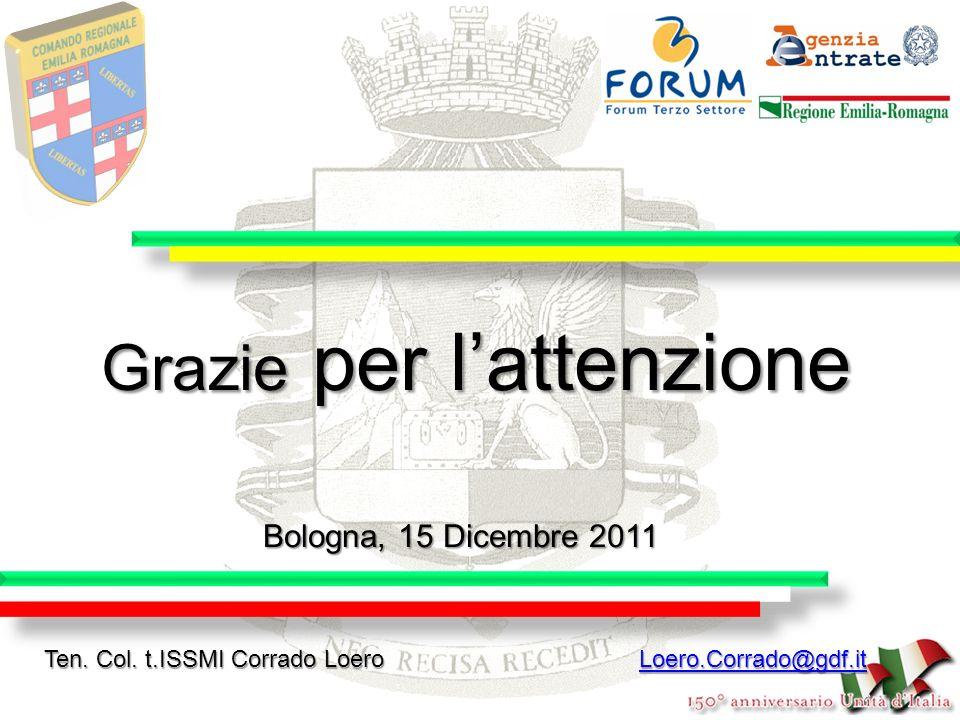 Grazie per lattenzione Bologna, 15 Dicembre 2011 Ten. Col. t.ISSMI Corrado Loero Loero.Corrado@gdf.it Loero.Corrado@gdf.it
