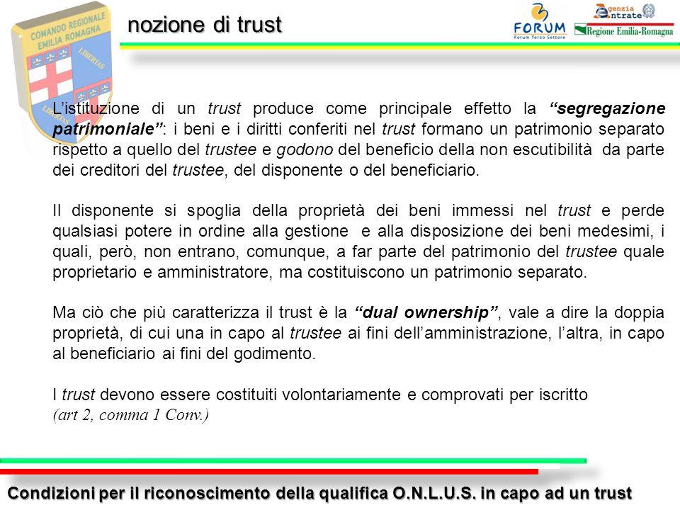 nozione di trust Condizioni per il riconoscimento della qualifica O.N.L.U.S. in capo ad un trust Listituzione di un trust produce come principale effe