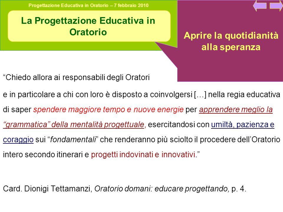 Progettazione Educativa in Oratorio – 7 febbraio 2010 Condivisione in gruppo Quale parte del ciclo di progetto è più trascurata.