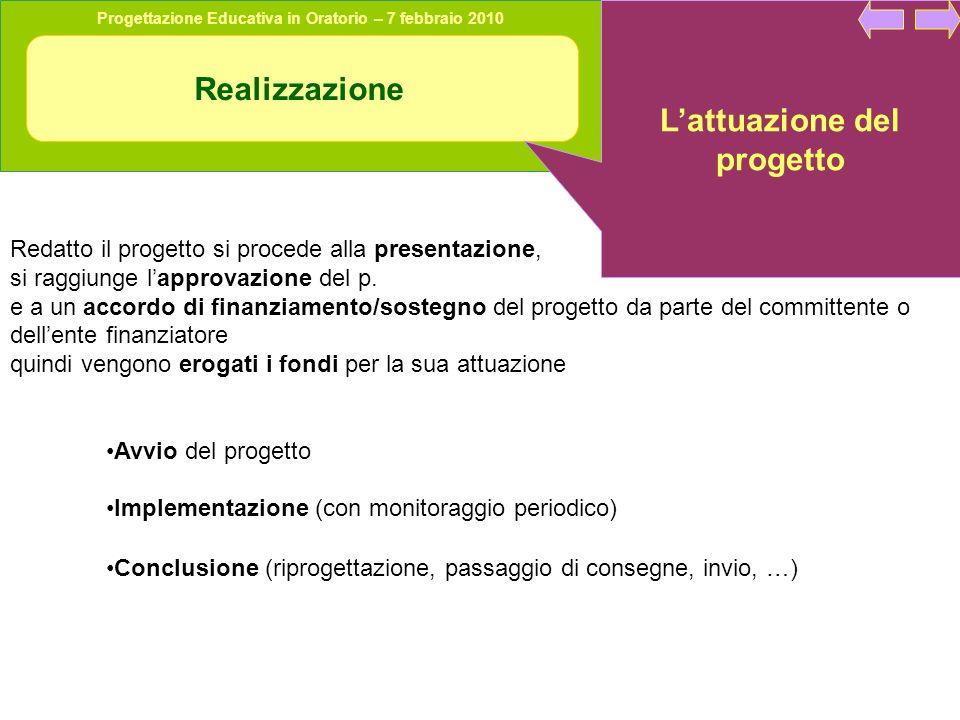 Progettazione Educativa in Oratorio – 7 febbraio 2010 Realizzazione Lattuazione del progetto Redatto il progetto si procede alla presentazione, si raggiunge lapprovazione del p.